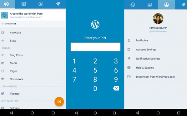 WordPress for Androidの設定メニュー