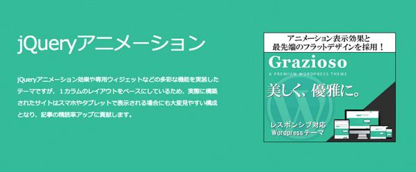 アニメーション表示効果と最先端のフラットデザインを採用 Grazioso